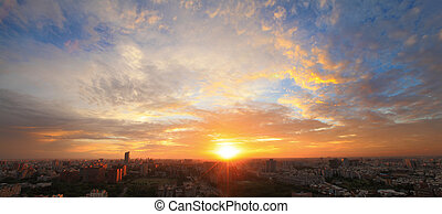the sunset of city shot in asia, taiwan, tainan