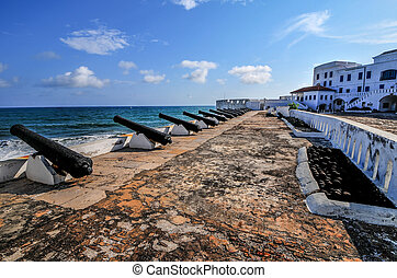 Cape Coast Castle - Ghana - Cannons overlooking from Cape...