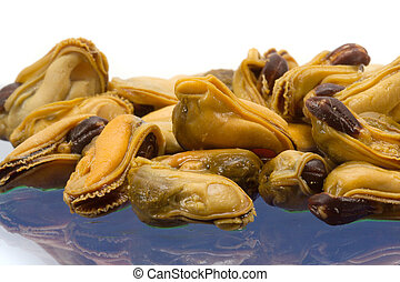 mussel - The cleared and salted mussels on a blue background