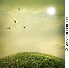 Butterflies in a fantasy landscape - Butterflies in the...