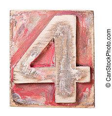 Wooden alphabet block, number 4
