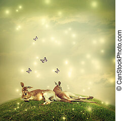 Kangaroos in a fantasy landscape - Two Kangaroos in a...