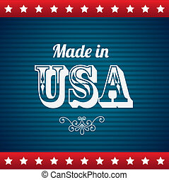 made in usa over blue background vector illustration