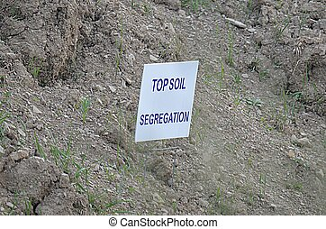 Topsoil serrogation sign on the Pennsylvania gas pipeline.