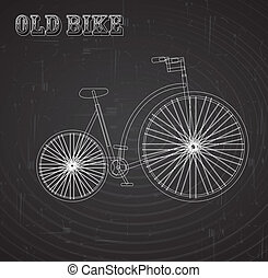 old bike over blackboard background vector illustration