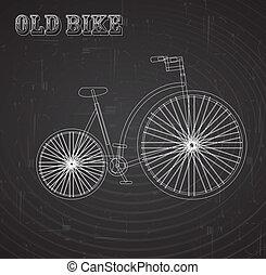 old bike over blackboard background vector illustration