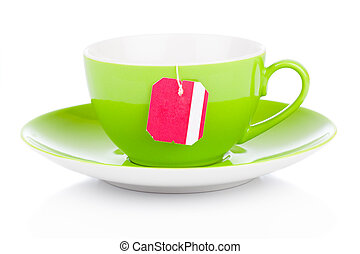 green tea cup with tea bag. Isolated on white background