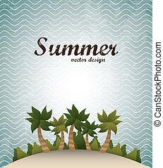 summer design over waves background vector illustration