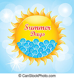 summer days design over sky background vector illustration