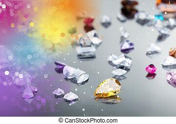 Conjunto, Muchos, diferente, piedra preciosa