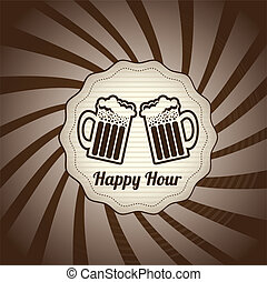happy hour design over grunge background vector illustration...