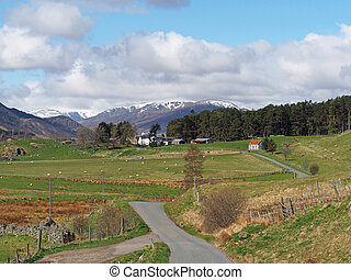 Spey valley, west of Laggan, Scotland in spring - Spey...