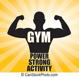 gym design over yellow background vector illustration