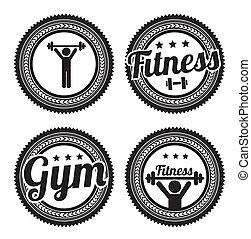 fitness seals over gray background vector illustration