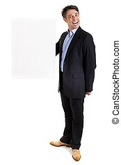 Dapper businessman with blank sign - Dapper businessman with...