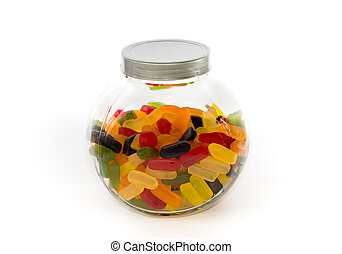 Closed jar filled with wine gums