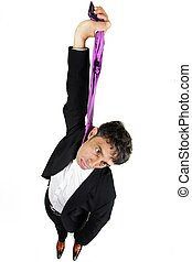 Businessman committing suicide - Humorous high angle...