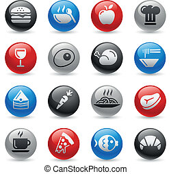 Food Icons - Set 1 -- Gel Pro Serie - Vector buttons for...