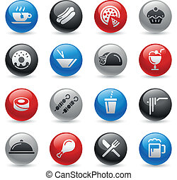 Food Icons - Set 2 -- Gel Pro Serie - Vector buttons for...