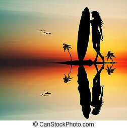 Woman with surf - Woman surfing at sunset