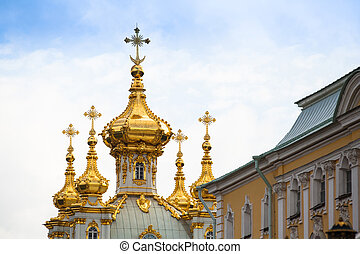 Golden cupola in Summer Gardens, Peterhof, Russia