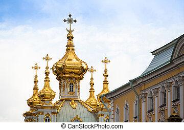 Golden cupola in Summer Gardens, Peterhof, Russia