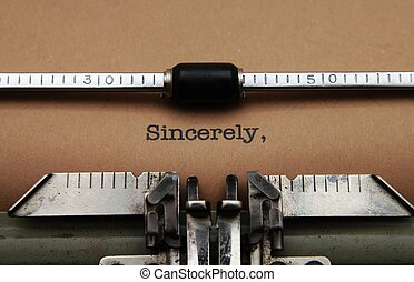 Sincerely text on typewriter