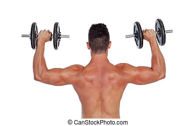 Muscular man lifting weights isolated on white background