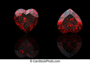 Heart shape gemstone Collections of jewelry gems on black