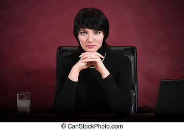 Busineswoman - Portrait of busineswoman dressed in black....