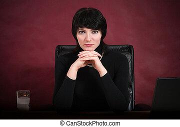 Busineswoman - Portrait of busineswoman dressed in black....