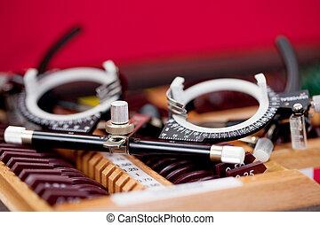 eye examination glasses - detail view of eye examination...