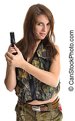 Pretty soldier - Girl with a gun in camouflage clothing...