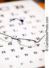 Glasses On Snellen Chart - Selective focus of glasses on...