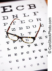 glasses lying on eye test chart - modern glasses lying on...
