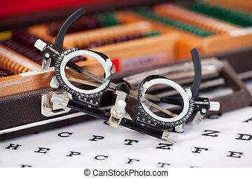 Eye Examination Glasses On Snellen Chart