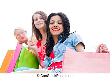 Girls Shopping - Beautiful brunette girl with her friends...
