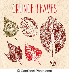 Grunge fallen leaves texture Eps 8 vector illustration