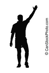 Rugby Referee Awarding Penalty or T - Sport Silhouette -...