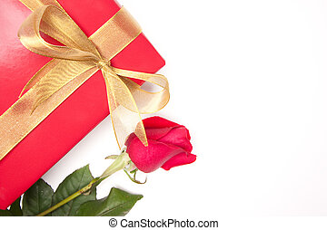 Rose & Gift with Ribbon