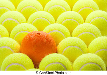 Group of Tennis Balls - Macro Set of Brand New Tennis Balls...