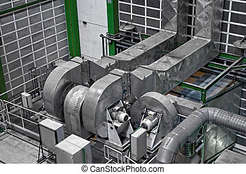 Large industrial interior with power generator