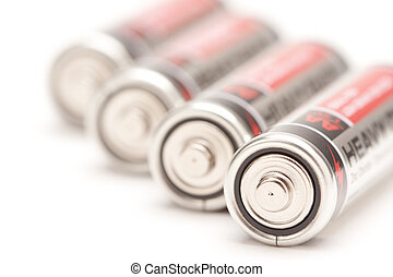 Line of Batteries on White