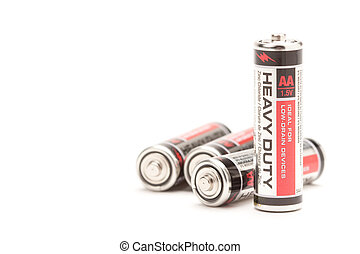 Pile of Batteries on White