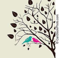 birds love over white background vector illustration