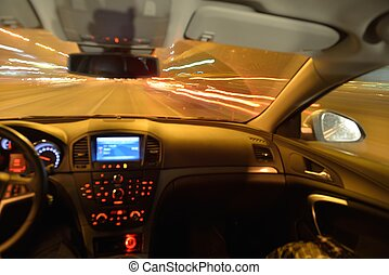 night car driving - View from inside of high-speed car in...