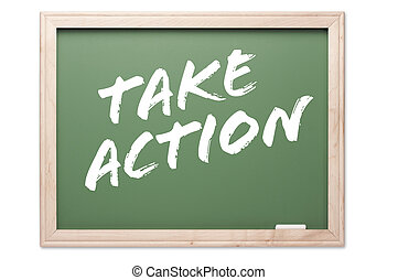 Chalkboard - Take Action - Chalkboard Series Isolated on a...