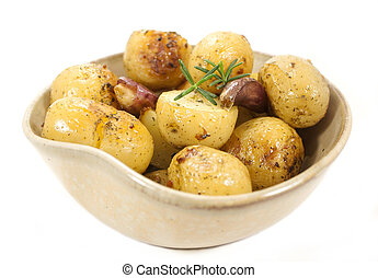 Roasted potatoes - Side dishes. Roasted potatoes bowl.