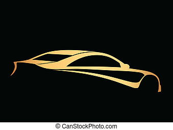 Golden super sport auto over black