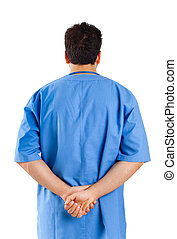 Male nurse turned on white background